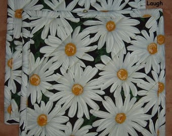"""Pick a Print-Set of 2 (8"""")  Poppies-Daisies-Quilted-Handmade-Insulated-Hot Pads-Pot Holders-Made in USA"""