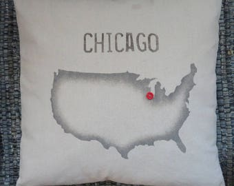 City On US Map Pillow
