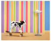 Skateboarding cow animal art print: Goofy Hoof