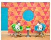 FALL SALE Eames mid century modern art print: Down The Rabbit Hole