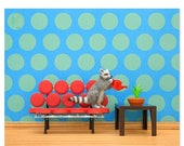FALL SALE Mid century modern animal art print with a raccoon: Going In Circles