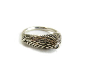 Off set tree branch ring | RECYCLED DIAMOND | Recycled oxidized silver  | Alternative engagement ring |  size 8 ring - LAST one