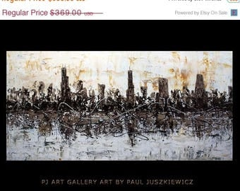 "17% OFF /ONE WEEK Only/ Enormous Chicago Scape Knife Abstract by Paul Juszkiewicz 60""x30"" brown cognac Huge"