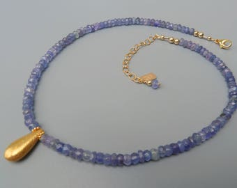 Tanzanite Necklace, Blue Gemstone, Tear Drop Necklace, Gold Tanzanite, Silver Tanzanite, Violet Gemstone, December Birthstone Gift For Her