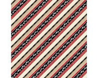 Plaid for the Holiday from Wilmington Prints - Full or Half Yard Christmas Stripe - Red, Black Tan, Cream