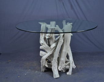 Sun bleached silver gray driftwood dining table