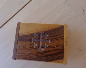 Small Wooden Rosary or Trinket Box with carved cross on hinged lid