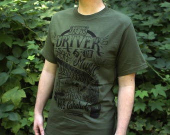 Supernatural T-Shirt | Driver Picks The Music Supernatural Shirt | Dean Winchester Shirt | Military Green Dean Shirt