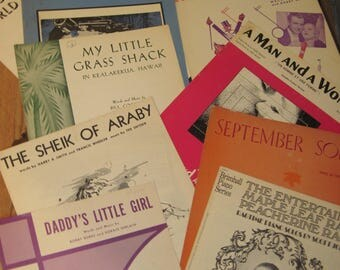 Vintage Sheet Music, Lot of 11, Scott Joplin, Daddy's Little Girl, Paris in the Spring + More