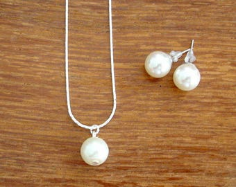 Set of 4 Single Pearl Drop Necklace and Stud Bridesmaid Jewelry Gift Sets - Necklace and Earrings, Weddings