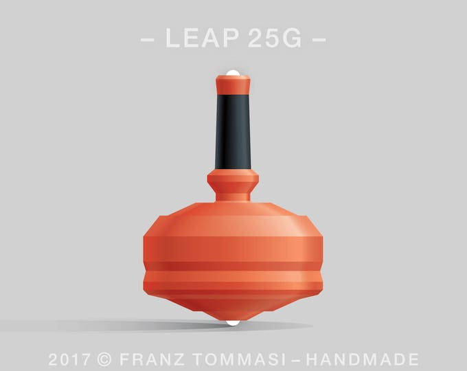 LEAP 25GOrange Spin Top with orange polymer body, ergonomic stem with rubber grip, and dual ceramic tip