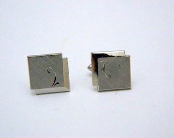 Swank Brushed Silver Tone Square Cuff Links
