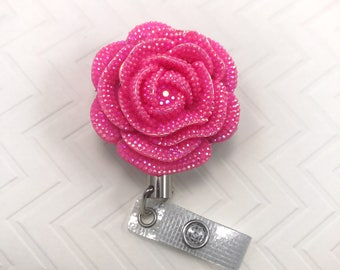 Flower Pink Bling Heavy Duty Steel Cord Durable Kawaii Badge Reel Retractable Work ID Holder Nurse CNA RN Technician Medical