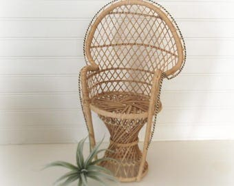 Vintage Rattan Peacock Chair, Small Plant Stand, Fan Chair, Boho Decor, Doll Chair, Wicker Plant Stand