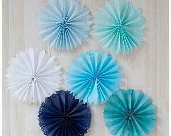 ON SALE TODAY Set of 5 Tissue Fans Rosettes Hanging Tissue Pinwheels Colors of your Choice Medallions Party Decoration photo prop table back