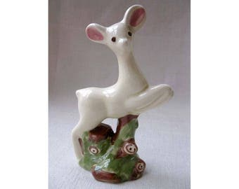 Vintage 1950s White Porcelain Ceramic Deer Figurine, 5 Inch Tall Ceramic Leaping Deer with Big Ears, Vintage Christmas Decoration