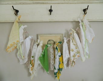 A Shabby Cottage Chic Vintage Hanky Banner