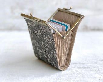 Black Business Card Holder Wallet, Women Credit Card Case, Fabric Card organizer, Fold Card Case, Metal Frame Purse