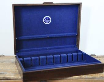 Vintage Nakens Silverware Chest Empty Wood Flatware Box Tarnish Resistant Royal Blue Liner Wooden Storage
