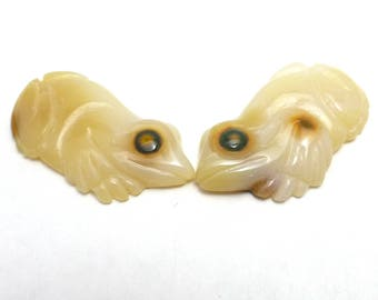 Ocean Jasper Cabochon Frogs Pair Hand Cut Carved One of a Kind Rare Amphibian Eye Carving Wire Wrapping Cute Woodland Fairy Tale Earrings