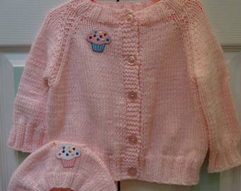 PINK BABY SWEATER set, size 12 to 18 months, knitted, soft  acrylic yarn, worsted weight, 5 buttons,cupcake applique on sweater and hat.