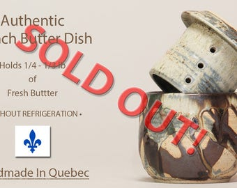 SOLD OUT Contact me to reserve one in the next firing.  French Butter Keeper, Cloche de beurre, Beurrier Breton, Lidded Butter Dish
