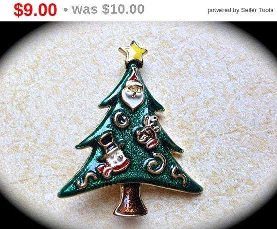 Summer Sale Vintage Christmas Tree Brooch, Christmas in july sale