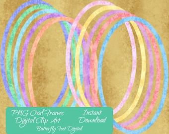 Digital Clip Art, PNG Oval Frames, Transparent Overlays for Scrapbooking, Card Making, Instant Digital Download
