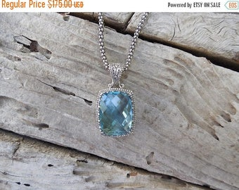 ON SALE Gorgeous Blue topaz necklace handmade in sterling silver