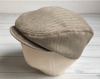 Brown toddler boy hat vintage inspired baby hat boys driver newsboy cap brown boys herringbone hat - Brown Around Town