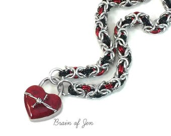 BDSM Slave Collar Silver, Black & Red with Heart and Barbed Wire Lock Submissive Collar