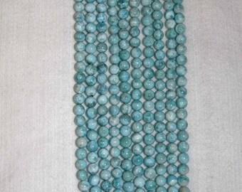 Larimar, Larimar Bead, 8 mm, A+, Smooth Bead, Natural Stone, Semi Precious Bead, Gemstone Bead, Blue Bead, Half Strand, AdrianasBeads