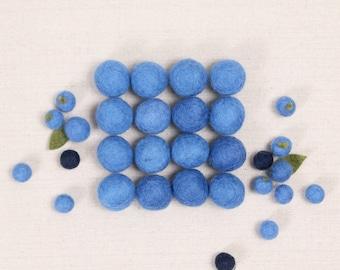 Felt Balls // Pool Blue // Felt Pom, Felt Flower Supplies, Felt Beads, Blue Pom Pom, Garland DIY, Mobile Craft, Nursery Decor, Blueberry Pom