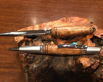 Gorgeous Burl Gift Set with  Matching Pen and Letter Opener