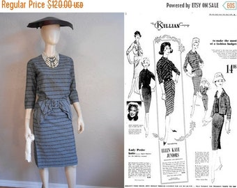 Anniversary Sale 35% Off Fashion on a Budget Oh Please - Vintage 1950s Ellen Kaye Slate Blue Cotton Woven Wiggle Dress w/Large Bow  - 2/4