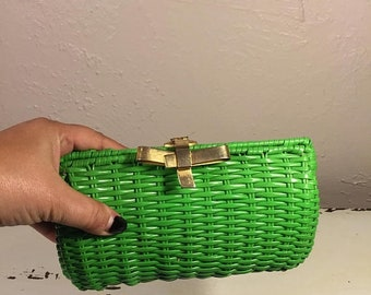 Anniversary Sale 35% Off Could It All Be About Me - Vintage 1960s Bright Green Vinyl Straw Clutch Handbag Purse