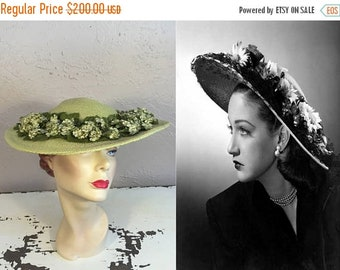 Anniversary Sale 35% Off An August Moment of Green - Vintage 1950s Chartreuse Green Floral Straw Wide Brim Hat