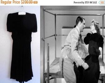 Anniversary Sale 35% Off Oh David - Vintage 1930s Black Silk Velvet Dress w/Back Draping - 2/4