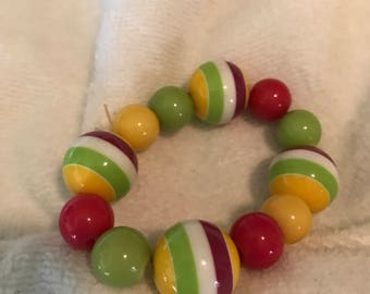 Bright Pink Yellow Green White Layered Lucite? Ball Bead Stretch  Bracelet