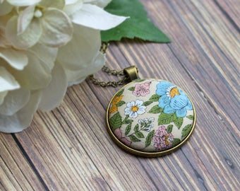 Hippie Necklace, Rustic Bridesmaid Gift, Recycled Vintage Floral Fabric Pendant, Cute Jewelry, Beige, Sky Blue, Pastel Pink, Orange