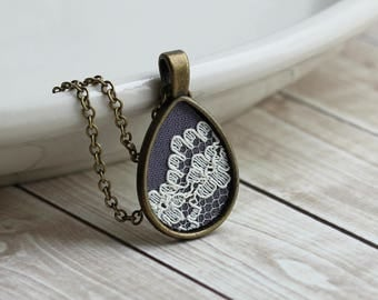 Lace Teardrop Pendant, Small Necklace, Boho Bridesmaid, Anniversary Gift, Cotton Jewelry, Floral, Gray, Ivory