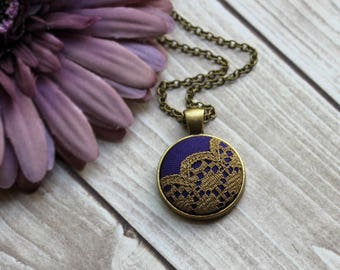 Purple And Gold Necklace, Small Pendant, Boho Wedding Bridesmaid Gift