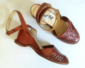 1970s Wedge Ankle Strap Huaraches Shoes Size 6.5 // Red Hot Made in Brazil
