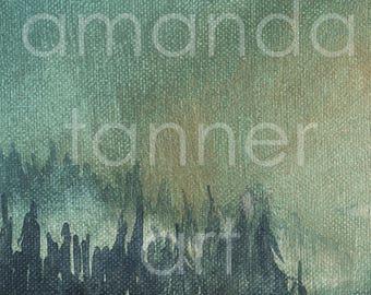 Set of Watercolor Painting Prints Diptych Misty Forest Landscape Art Print Mountain Art Watercolor Landscape 8x10 prints