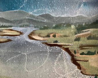 Original Watercolor Painting Landscape Oregon Acrylic Painting Original Watercolor Painting 8x10 wall art