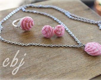 Pan Dulce Ring, Pan Dulce Necklace, Pan Dulce Post Earrings, Pan Dulce Jewelry SET, Concha Jewelry SET
