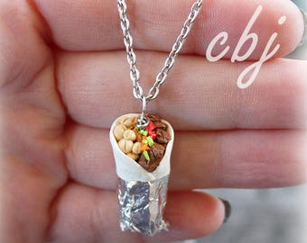 Burrito Charm, Burito Necklace, Handmade out of Polymer clay, Stainless Steel.