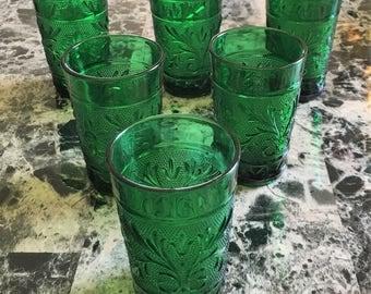 Vintage Anchor Hocking Emerald Forest Green Sandwich Pattern Juice Glasses - Set of 6