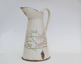 Enamel pitcher art nouveau decor, French Enamelware, Enameled water pitcher jug, Housewarming gift.