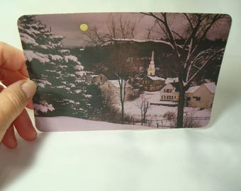 Vintage HALLMARK Christmas Wintry Scene of Church with Snow Postcard.